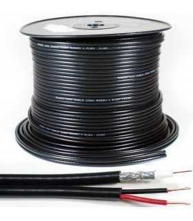 Cablu coaxial RG59 cu alimentare pentru camere de supraveghere 75R 1x0.81mm cupru +128x0.12mm CCA 6mm PVC negru Well