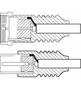 Cablu conexiune antena/Satelit 2.5m F tata - Coaxial mama alb Goobay