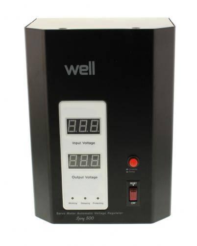 Stabilizator automat de tensiune 500VA cu servo motor montabil pe perete Well AVR-SRV-SPRY500BK-WL