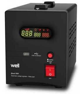 Stabilizator automat de tensiune cu releu 1500VA negru Well AVR-REL-GUARD1500-WL