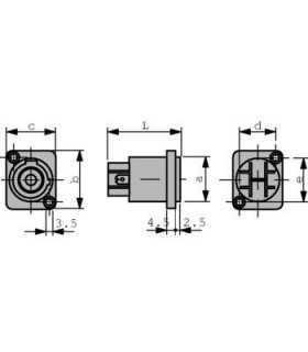 Conector etans de panou iesire Neutrik