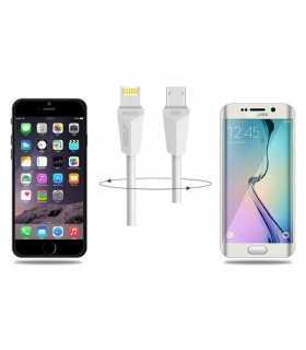 Cablu de incarcare USB Golf Diamond 2in1 alb iPhone micro USB