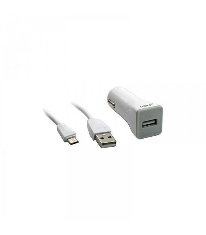 USB Incarcator Golf Auto 1 Micro USB 1A 1000mA 1m la priza bricheta auto alb