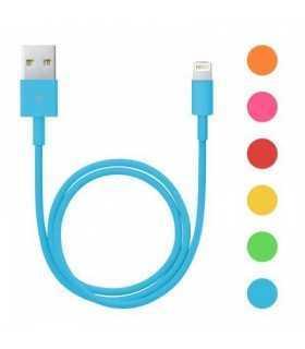 Cablu de date pentru iPhone 5 iPhone 6 invelis textil diferite culori 1m Delight