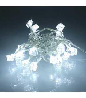 Ghirlanda electrica luminoasa decorativa forma diamant 20 LED albe lumina rece cablu transparent WELL