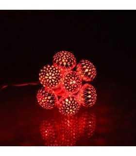 Ghirlanda electrica luminoasa decorativa cu felinar 20 LEDuri rosii cablu transparent WELL