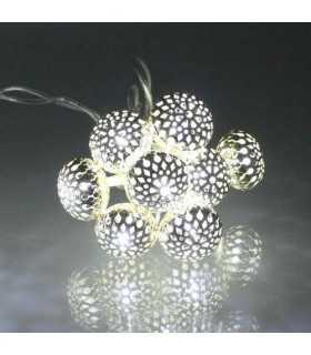 Ghirlanda electrica luminoasa decorativa cu felinar 20 LEDuri albe lumina rece cablu transparent WELL