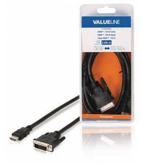 Cablu HDMI-DVI-D conector HDMI - DVI-D 24+1 tata 2m Valueline