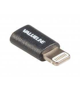 Adaptor USB Lightning tata - micro USB mama negru Valueline