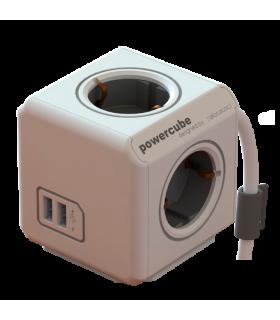 Prelungitor 4 cai CUB +2x USB cablu 1.5m Allocacoc