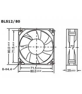 Ventilator 12V 80x80x25mm Velleman
