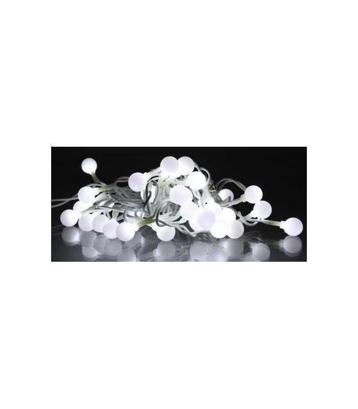 Ghirlanda luminoasa decorativa cu sfere albe 30 LED lumina rece culoare cablu alb WELL
