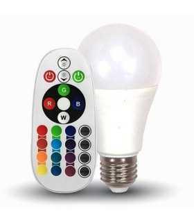 Bec LED E27 RGB + Alb Rece 6400K cu telecomanda V-TAC