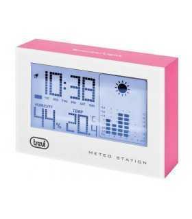 Statie meteo cu ceas alb/roz Trevi