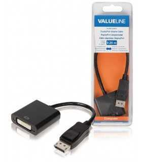 Cablu adaptor DisplayPort la DVI-D 24+1 mama 0.2m negru Valueline