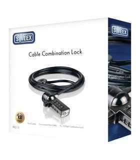 Cablu laptop de blocare cu combinatie negru Sweex
