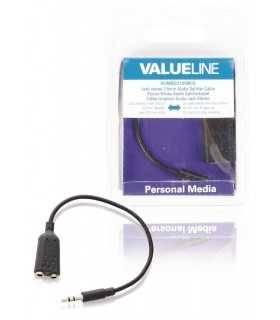 Splitter audio stereo Jack 3.5mm tata - 2x 3.5mm mama 0.2m negru Valueline