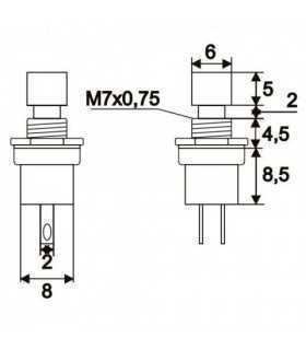Buton 1 circuit 1.5A 250V OFF-ON fara retinere rosu