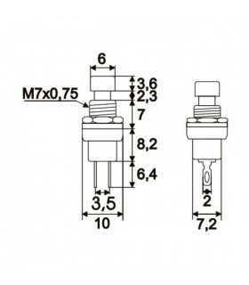 Buton 1 circuit 12VDC ON-OFF fara retinere rosu