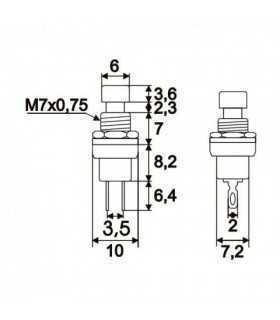 Buton 1 circuit 12VDC ON-OFF fara retinere negru