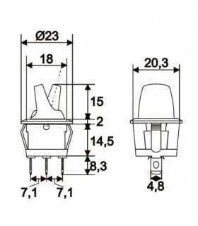 Comutator cu brat 1 circuit OFF-ON 6A 250V rosu