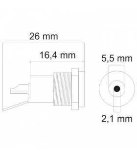 Mufa CC montabil 5.5x2.1mm