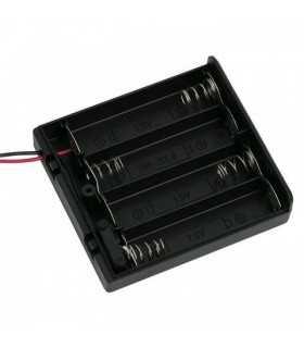 Suport baterii 4x AA cu capac intrerupator si fire