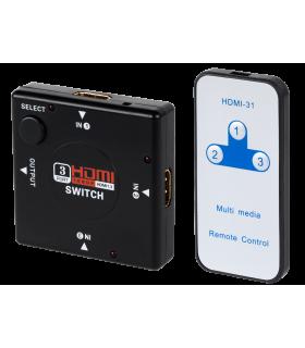 Switch HDMI 3 intrari la HDMI iesire cu telecomanda Cabletech
