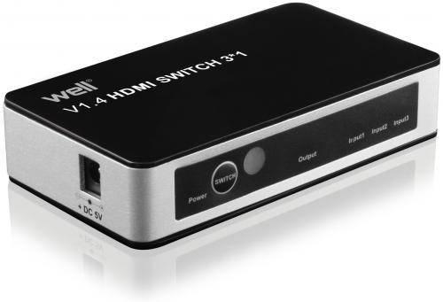 Switch HDMI 3 intrari 4K V1.4 cu telecomanda Well
