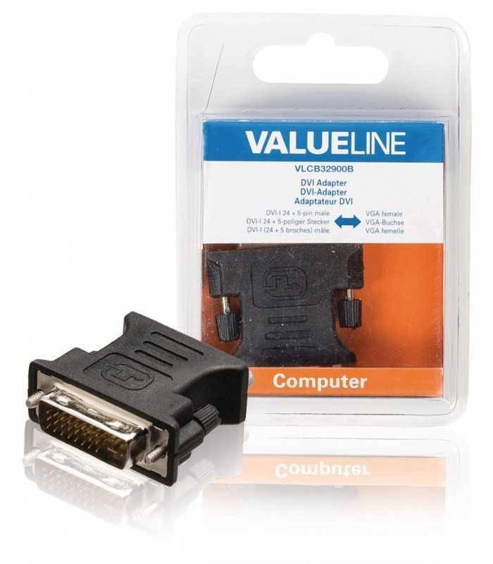 Adaptor DVI-I 24+5 tata - VGA mama negru Valueline