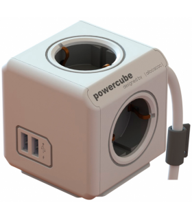 Prelungitor 4 cai CUB +2x USB lungime cablu 1.5m gri Allocacoc