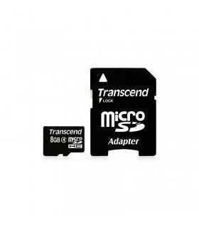 Card Transcend microSDHC 8GB Clasa 4 cu adaptor SD