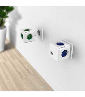 Fisa sub forma de cub 4 cai Schuko si 2x USB albastru Allocacoc