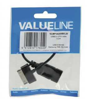 Cablu adaptor OTG USB A - Samsung 30 pini 0.2m Valueline