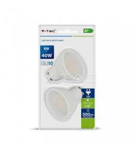 Set 2 becuri LED GU10 6W 6400K alb rece V-TAC