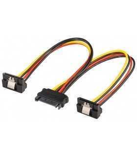 Cablu adaptor SATA la 2x SATA 90 grade mama Goobay