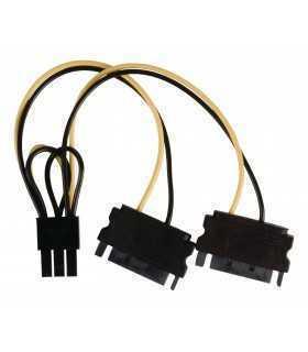 Cablu de alimentare intern 2x SATA 15 pini tata - PCI Express mama 0.15m Valueline
