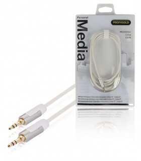 Cablu audio stereo JACK 3.5mm tata - tata 2m OFC alb Profigold