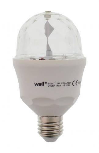 Bec cu LED DISCO E27 3W 230V lumina RGB +lumina naturala +telecomanda Well