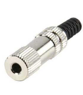 Conector Jack stereo mama 3.5mm metalic pentu cablu LUMBERG