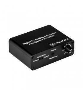 Convertor DIGITAL Toslink/RCA la ANALOG 2x RCA +cu iesire casti 3.5mm Jack Cabletech