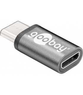 Adaptor USB C tata - micro USB 2.0 Tip B mama negru Goobay