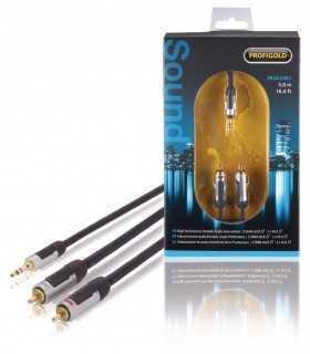 Cablu audio stereo Jack 3.5mm tata - 2x RCA tata 5m cupru dublu ecranat negru Profigold