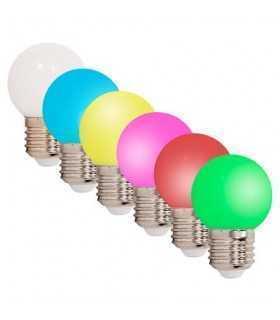 Set 6 becuri LED E27 G45 220-240V 0.5W colorate rosu verde albastru alb cald galben roz