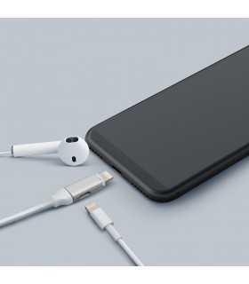 Cablu de date 2in1 iPad iPhone lightning 1m 2A argintiu delight