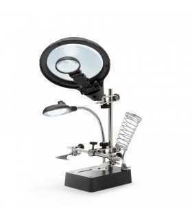 Suport CI cu lupa 9/ 3cm iluminata 5x LED 15lm si cleme crocodil Fahrenheit
