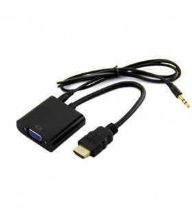Cablu adaptor HDMI la VGA +3.5 mm JACK audio 20cm