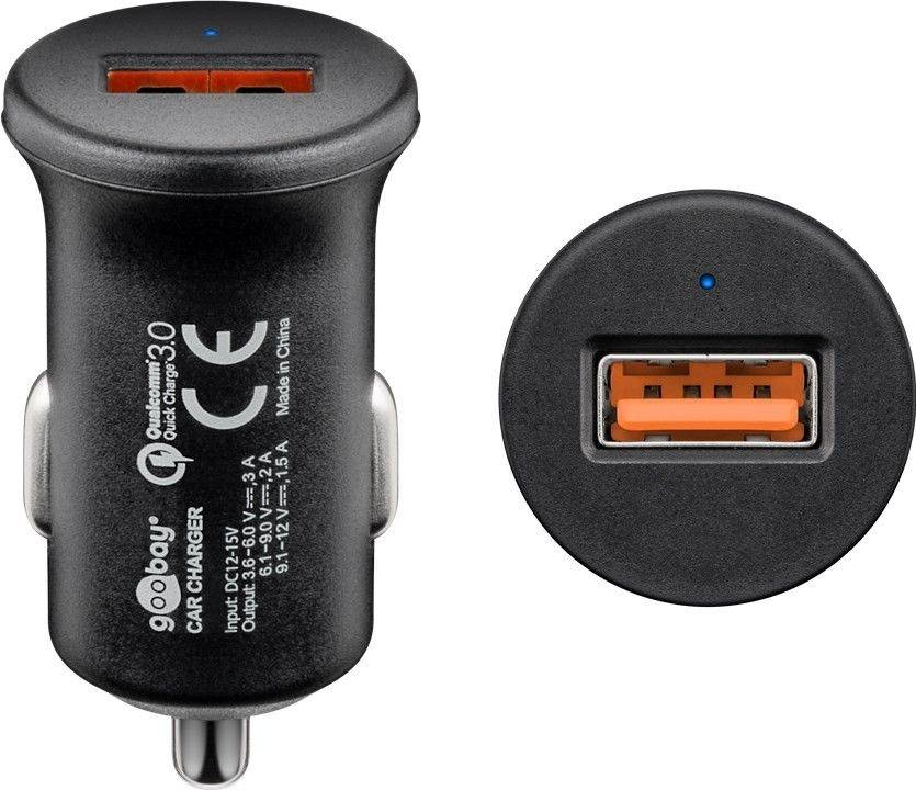 Alimentator USB bricheta auto QuickCharge3.0 1 iesire 3A negru Goobay