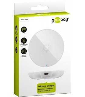 Incarcator fara fir wireless 5W 1A alb pentru dispozitive standard QI Goobay