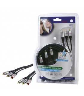 Cablu Profesional 3x RCA tata - 3x RCA tata 5m dublu ecranat HQ